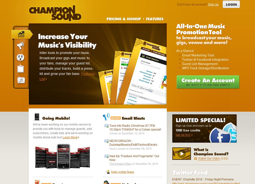 Champion Sound Home Page Slider