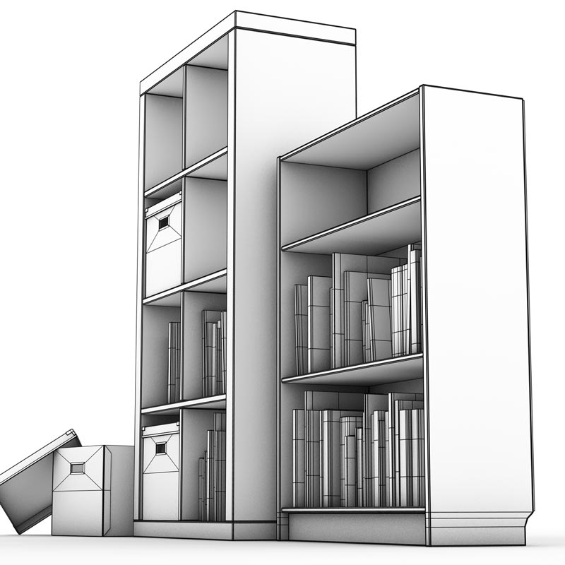 Wireframe of Books & Shelves