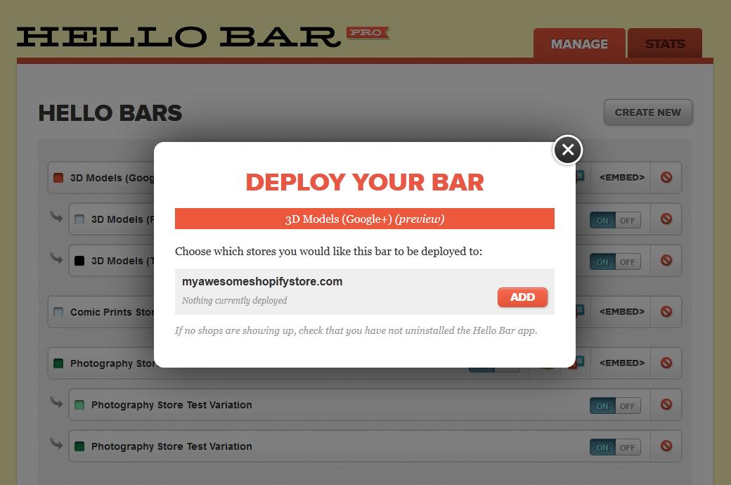 The Hello Bar Shopify App