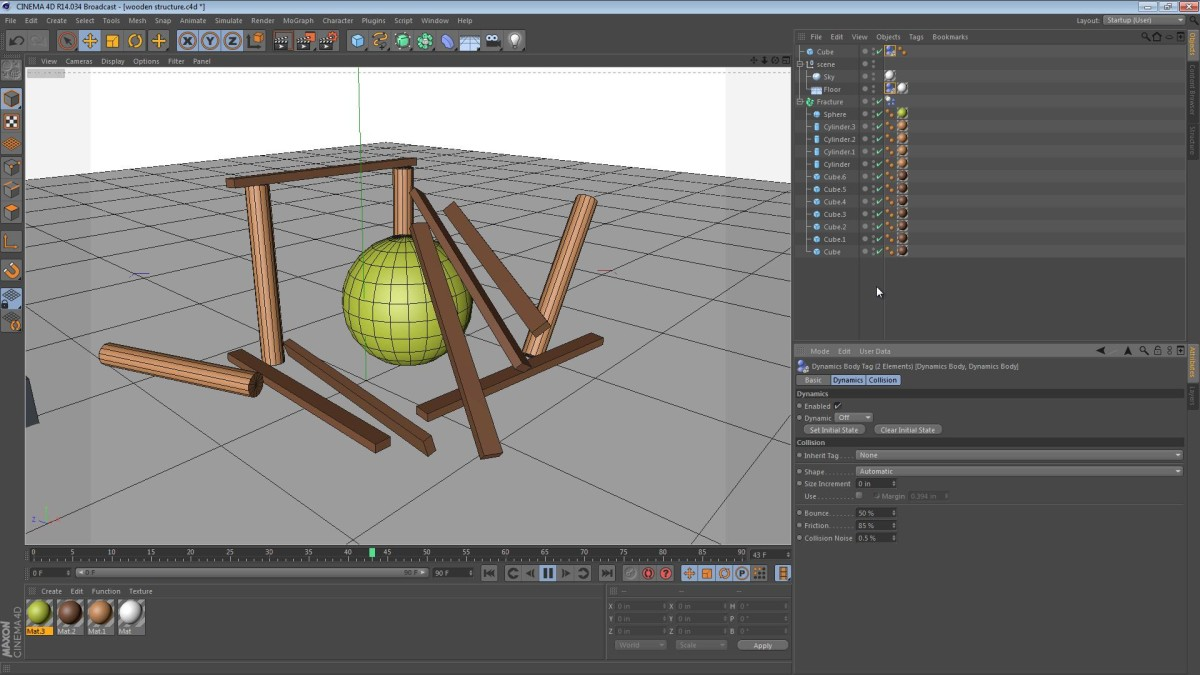 Using the MoGraph Fracture Object for Dynamics in Cinema 4D