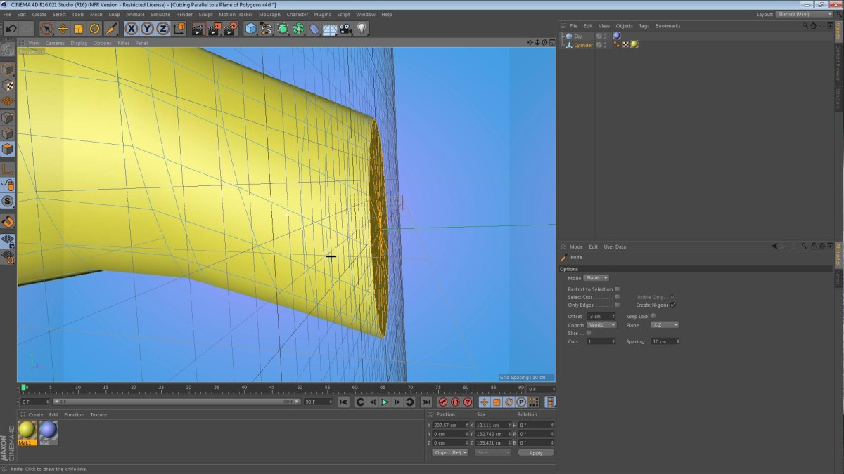 Cutting Parallel to a Plane of Polygons in Cinema 4D
